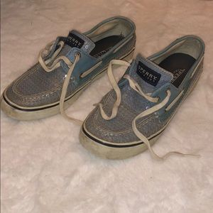 Pale Blue Sequin Sperry Top Sider